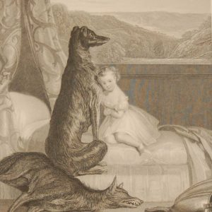 Faithful Gelert, antique print, Victorian, an engraving from circa 1880 after the original painting by Daniel Maclise the Cork born painter.
