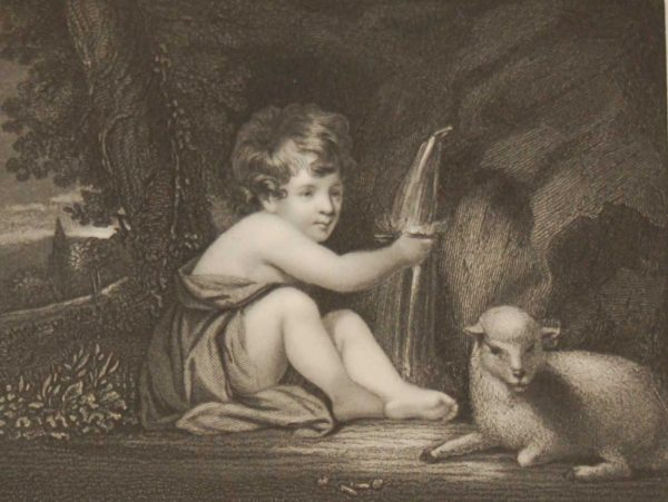 The Infant Saint, antique print, Victorian, an engraving from circa 1880 after the original painting by Sir Joshua Reynolds.