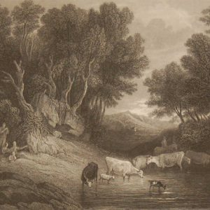 The Watering Place, antique print, Victorian, an engraving from circa 1880 after the original painting by Thomas Gainsborough.