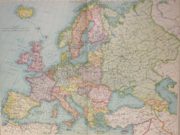 Large vintage map from 1922 titled Europe Political. The map shows Europe post the First World War and although published in 1922 map would have been drawn prior to publication and shows Ireland with no border.