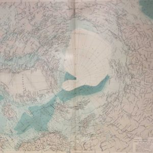 Large vintage map from 1922 titled North Polar Region. The map shows the North Pole and bordering areas, Alaska, Greenland and Siberia.