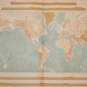 Large vintage orographical map from 1922 titled World Bathy Orographical. The map looks at mountain sizes and sea depth as measured at the time.