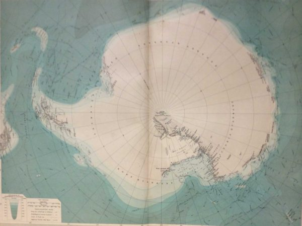 Large vintage map from 1922 titled South Polar Region. The map shows the South Pole, mapping pack ice from the time also.