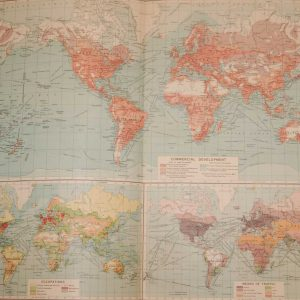 Large vintage map from 1922 titled World Commerce. The map is broken into three parts, commercial development, occupations and commercial traffic.