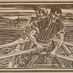 Harry Kernoff Woodcut Rowing a Curragh Connemara ,1948 Woodcut by Harry Kernoff framed.