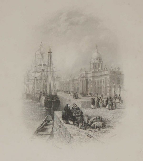 Antique print of the Custom House, Dublin, now O'Connell Street, a steel engraving from 1837, after a drawing by Thomas Creswick & was engraved by H Griffith.
