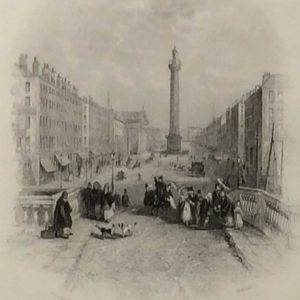 Antique print of Sackville Street, Dublin, now O'Connell Street, a steel engraving from 1837,after a drawing by Thomas Creswick & was engraved by H Wallis.
